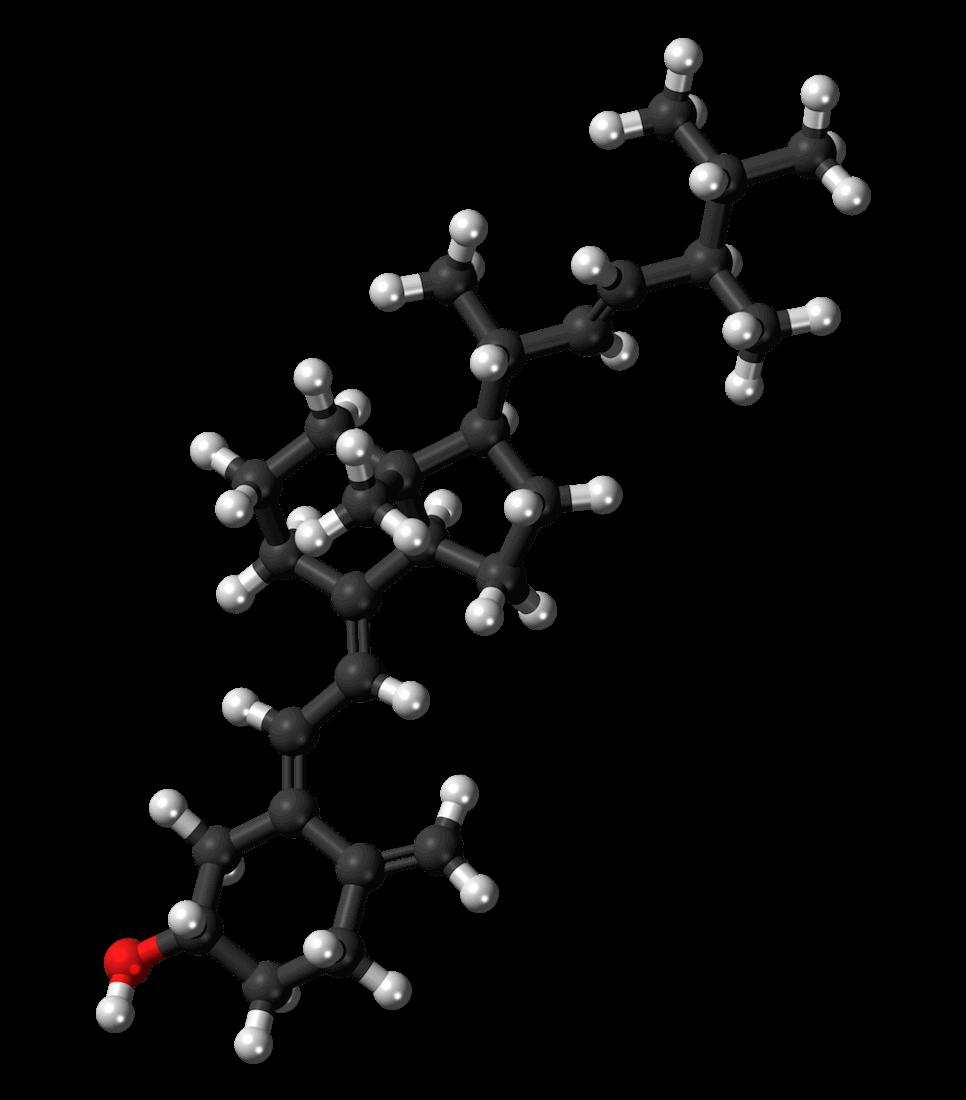 Modelo de uma molecule de Ergocalciferol (vitamina D2)